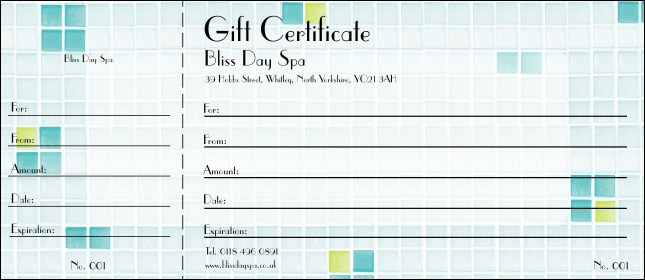 Bliss Spa Gift Certificate Product Front