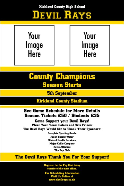Sports Poster 002 in Black and Yellow