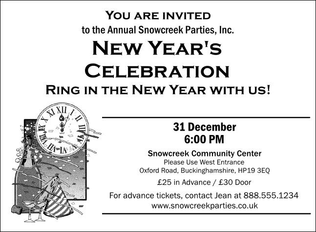 "Black and White New Year""s Invitation 001"