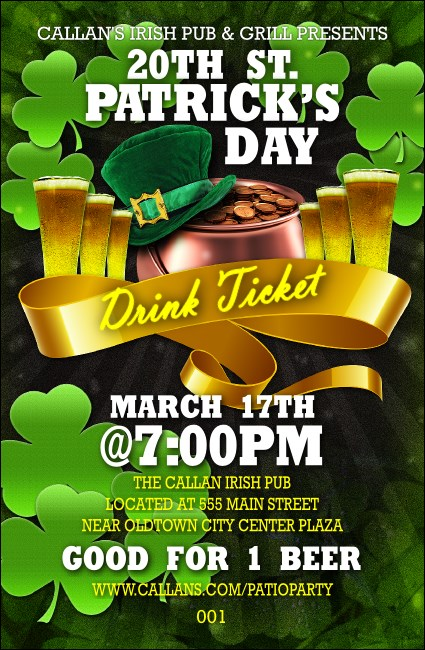 St. Patrick's Day Party Drink Ticket