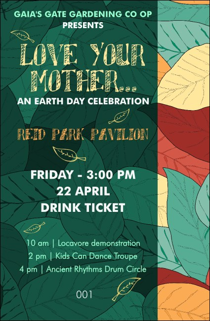 Earth Day Drink Organic Ticket