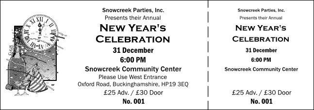 Black and White New Year's General Admission Ticket 001